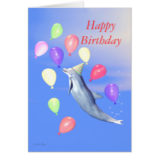 Kids Happy Birthday Party Dolphin Card