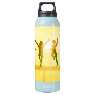 Kids Having Fun and Playing by the Beach Insulated Water Bottle