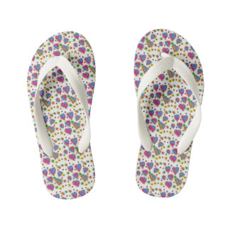 KIDS HEARTS COLOEFUL FLIP FLOPS