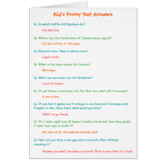 Kids Hilarious Test Answers Funny Card for Teacher