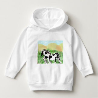 Kids hoodie  with black and white horse design
