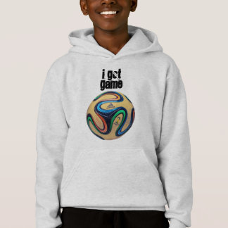 Kid's hoodie with I Got Game and soccer ball