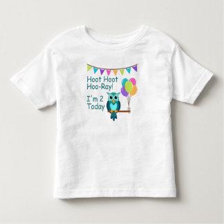Kids Hoot Hoot Hoo-Ray I'm 2 Today Owl T-Shirt