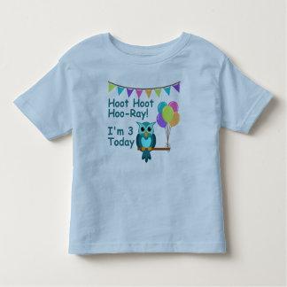 Kids Hoot Hoot Hoo-Ray I'm 3 Today Owl T-Shirt