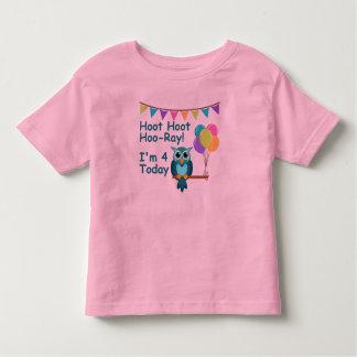Kids Hoot Hoot Hoo-Ray I'm 4 Today Owl T-Shirt