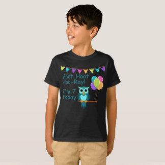 Kids Hoot Hoot Hoo-Ray I'm 7 Today Owl T-Shirt
