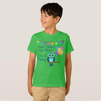 Kids Hoot Hoot Hoo-Ray I'm 8 Today Owl T-Shirt