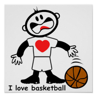 Kids I Love Basketball Poster