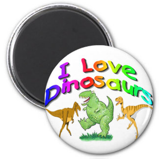 """Kids """"I Love Dinosaurs"""" gifts 2 Inch Round Magnet"""