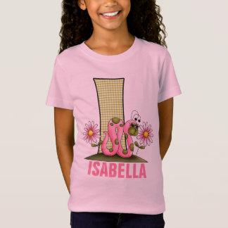"Kids ""I"" Monogram   Pink and Green Inchworm T-Shirt"