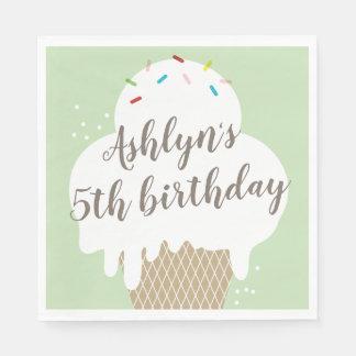 Kids ice cream cone green birthday party napkins