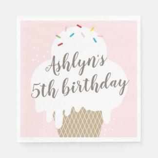 Kids ice cream cone pink birthday party napkins