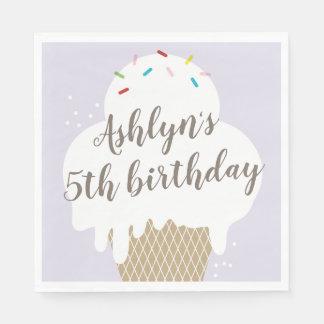 Kids ice cream cone purple birthday party napkins