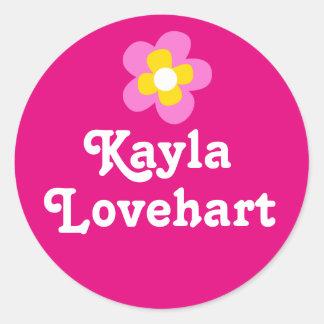 Kids id named pink white flower girls sticker