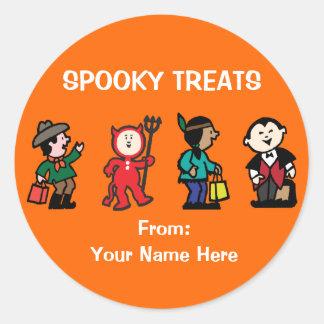 Kid's in Halloween Costume Round Sticker