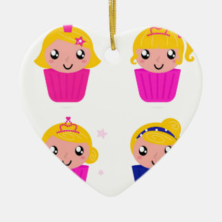 Kids in muffins ceramic ornament