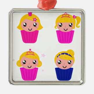 Kids in muffins metal ornament