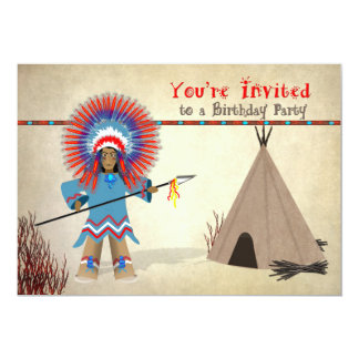 Kids' Indian Birthday Inviation - Indian and Tepee Card