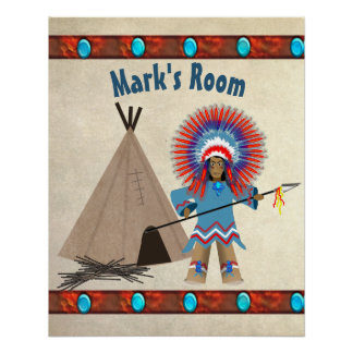 KIDS' INDIAN CHIEF POSTER - PERSONAIZE PERFECT POSTER