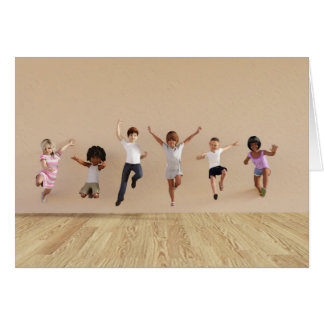 Kids Jumping Playing Inside the House Illustration Card