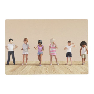 Kids Jumping Playing Inside the House Illustration Laminated Place Mat