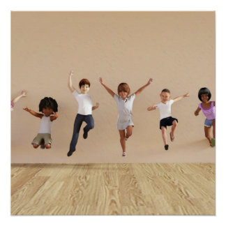 Kids Jumping Playing Inside the House Illustration Perfect Poster