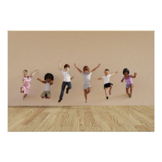 Kids Jumping Playing Inside the House Illustration Poster