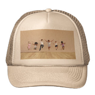 Kids Jumping Playing Inside the House Illustration Trucker Hat