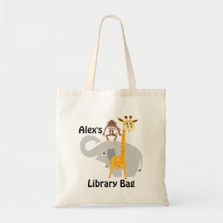 Kids Jungle Animals Library Tote Bag