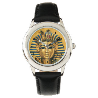 Kids King Tut Egyptian Black Leather Strap Watch