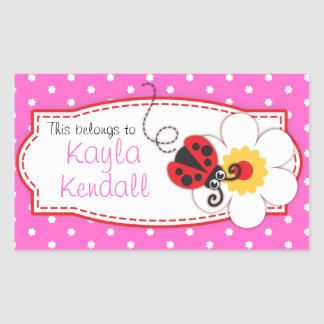 kids ladybug book plate id name pink label sticker