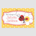kids ladybug book plate id name yellow sticker