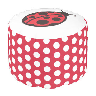 Kids Ladybug Pouf Pillow Ottoman Seat  Decor