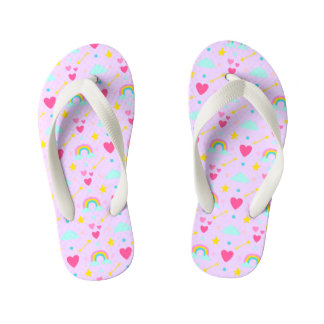 Kids Lavender Rainbow Patterned Flip Flops