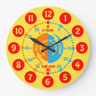 Kids learn to tell time yellow red blue wall clock