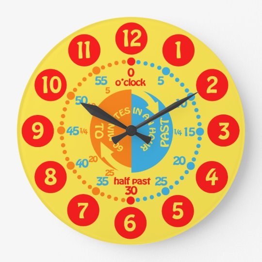 Kids learn to tell time yellow red blue wall clock | Zazzle.ca