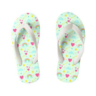 Kids Light Green Rainbow Patterned Flip Flops
