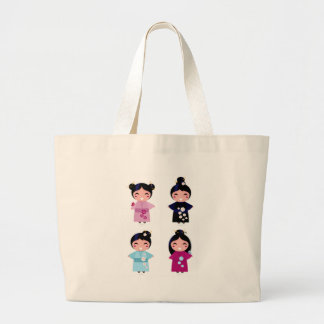 Kids little cute geishas large tote bag