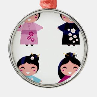 Kids little cute geishas metal ornament