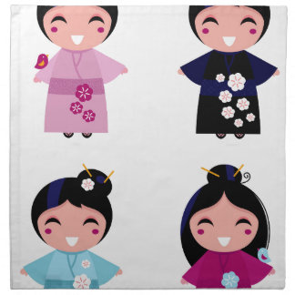 Kids little cute geishas napkin