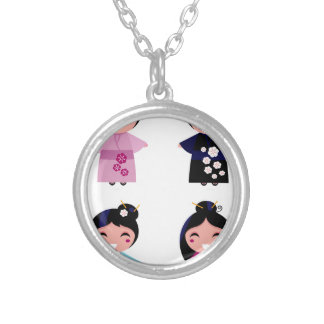 Kids little cute geishas silver plated necklace
