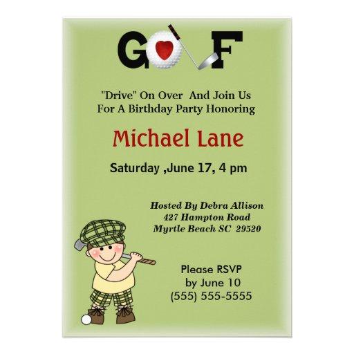 Kids Little  Golfer Invitation
