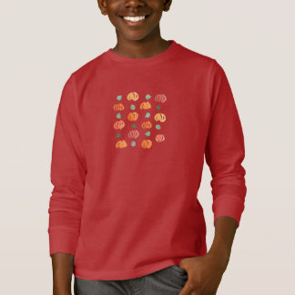 Kids' long sleeve T-shirt with pumpkins and leaves