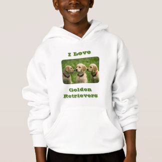 Kids Love Golden Retrievers Puppy Hood Sweatshirt