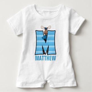 "Kids ""M"" Monogrammed | Blue Knit Moose Baby Romper"