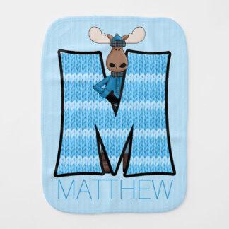 "Kids ""M"" Monogrammed | Blue Knit Moose Burp Cloths"