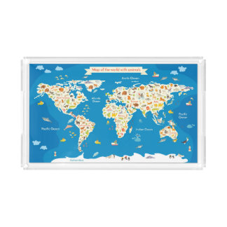 Kids Map of the World With Animals Acrylic Tray