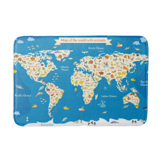 Kids Map of the World With Animals Bath Mat