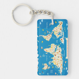 Kids Map of the World With Animals Keychain