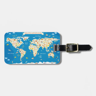 Kids Map of the World With Animals Luggage Tag